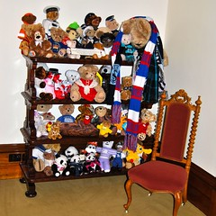 group photo 2 (Ian Riley [on the right side of the fence]) Tags: house toys photo stuffed teddy bears group australia kong collection reception adelaide government sa awards southaustralia cheung shelved