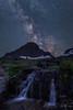 Glacier Heavens (Willie Huang Photo) Tags: nature night stars landscape waterfall nationalpark montana nightscape glacier glaciernationalpark cascade loganpass reynolds goingtothesun milkyway reynoldscreek mtreynolds