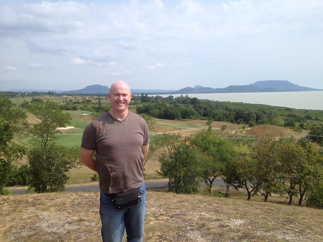 Graham at North West corner of balaton with tihany in the distance