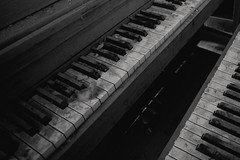 Duet (Erin Watson/Abandoned Exploration) Tags: school light two bw white black abandoned lines canon dark keys student education closed photographer open classroom decay empty duo duet pair ruin piano ivory class teacher forgotten instrument learn educated 2013 erinwatson erinwatsonphotography