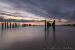 Sea long exposure at sunset (lathuy) Tags: longexposure sunset sea mer beach clouds soleil coucher le nuages nd100 bigstopper