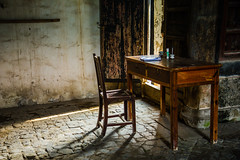 A desk in Guodong (Kimberly Kendall) Tags: china travel light portrait village desk nationalday goldenweek directionallight chinatravel guodong chineseperson wuyicounty