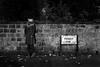 Penny Lane. (evilibby) Tags: autumn blackandwhite bw fall leaves wall liverpool blackwhite brickwall libby 365 docs drmartens pennylane dms 365days 3656 wolfhat 365days6