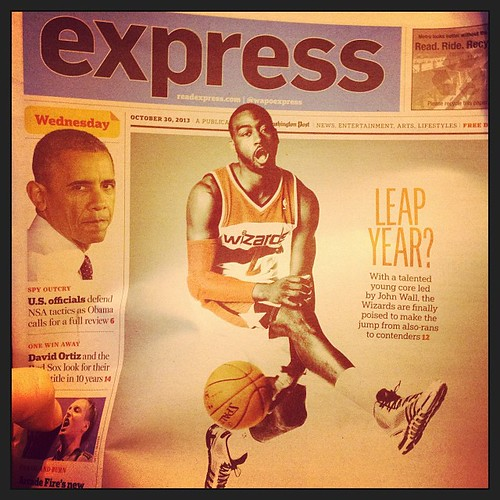"John Wall's face on today's WashPost Express... Caption: ""Leap Year?"" --> Obama looks skeptical. #wizards"