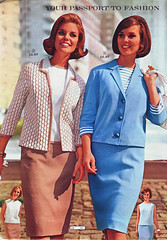 Wards 64 ss two suits (jsbuttons) Tags: blue clothing 60s buttons womens 64 catalog sixties wards 1964 skirtsuit vintagefashion buttonfront