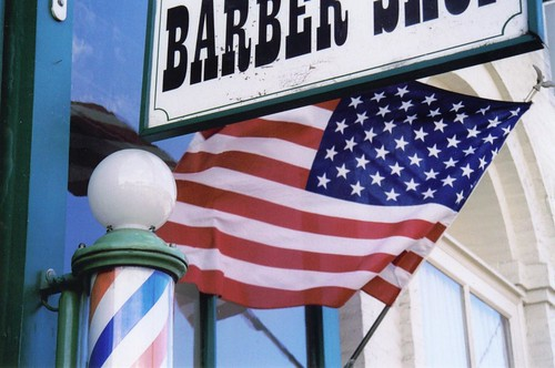 Flag hanging of barber shop
