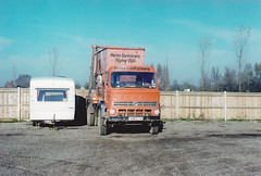 Hales Containers  Skip vehicle [ RMC Group ] Leyland Reiver [ ? ] VNM671S. Chertsey pit , late79. (busmothy) Tags: