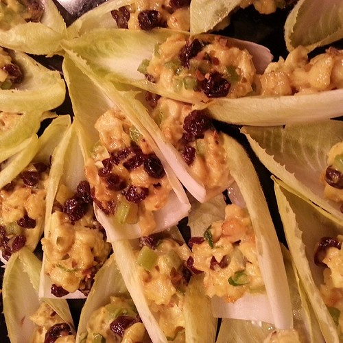 #Delicious curried chicken w raisins in endive leaf #GourmetNYC #PartyNYC #houderves