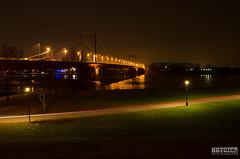 Through the park in the dark! (dombry) Tags: bridge red orange white water night dark lights nikon long exposure nacht nikkor duisburg dunkel bei 18105 langzeitaufnahme brygier