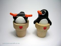 Flowerpot Penguins (QuernusCrafts) Tags: cute penguin polymerclay flowerpot quernuscrafts