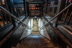 Bleeker Street Subway Entrance (dansshots) Tags: nyc newyorkcity night nightshot hdr d3 newyorkatnight hdrphotography hdrphoto nikond3 dansshots