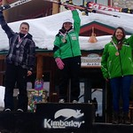 Emma King 1st; Rebecca Bermel 2nd; Mikayla Martin 3rd - Kimberley Keurig Cup downhill overall podium PHOTO CREDIT: JP Daigneault