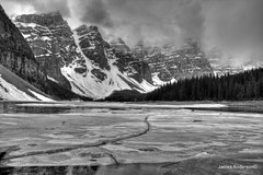 Frosty Moraine in grey (JA Photography - Be There, Out There) Tags: winter blackandwhite ice monochrome alberta banffnationalpark morainelake valleyofthetenpeaks jamesanderson morainelakebanffnationalpark japhotography