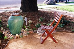 Chillin' and Spillin' (jjldickinson) Tags: wood food plant fountain garden ceramic dessert japanese chair vietnamese landscaping bamboo pot longbeach vase mochi wrigley nikkor waterfeature nikonf confectionery manju cuttingboard ladle droughttolerant hishaku xeriscaping suikinkutsu fujicolorsuperiaxtra400 nikkors50mmf14 fugetsudo nikonfphotomicftn lawntogarden tiffen52mmsky1a roll496n