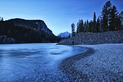 Banff Bow River LE (John Andersen (JPAndersen images)) Tags: alberta banff bluehour bowriver geology le mountains night outcrop park permian summer triassic twilight