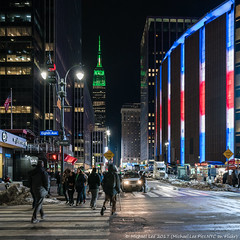 33rd and 8th (20170317-DSC08656-Edit) (Michael.Lee.Pics.NYC) Tags: newyork msg madisonsquaregarden esb empirestatebuilding 8thavenue 33rdstreet night intersection rangers nhl streetscene architecture cityscape square sony a7rm2 fe2470mmf28gm