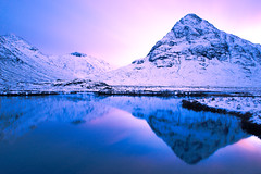 Sunset in Glencoe! (Stuart M Photo) Tags: glencoe scotland leefilters bigstopper nikon d800 2470mm polarizer blue pink mountains snowyhills snow reflections water sky sunset