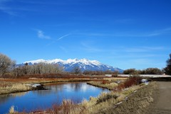 River Walk (Patricia Henschen) Tags: alamosacolorado alamosa colorado sanluisvalley winter mountains mountain sangredecristo riogrande riogranderiver levee path trail pathscaminhos blanca peak reflection river