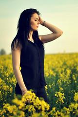 (DorotaPh) Tags: yellow field black girl beautiful portrait nikon 50mm