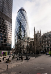 The Gherkin and St Andrew Undershaft (Derwisz) Tags: thegherkin standrewundershaft church skyscraper buildings architecture city cityoflondon london england uk unitedkingdom canon eos40d canoneos40d hdr 100v10f 30stmaryaxe