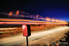 Tractor Driving Past Postbox (Rick Ellerman) Tags: canon750d canon 750d aberdeenshire aberdeen blairdaff tractor light lighttrail lighttrails post postbox mail royalmail orange white red lights road magical
