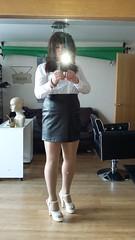 Forgot this one! (Sissy kaylah) Tags: trans tights nudetights heels brunette miniskirt crossdresser transvestite blackminiskirt pantyhose