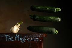 The Magician (Studio d'Xavier) Tags: themagician garlic cucumbers levitation stilllife surreal strobist