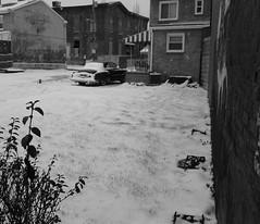 Last bits of Winter. (Thomas Bush) Tags: urban city lawrenceville antiquecar vintage oldcar nieva schnee pennsylvania pa pittsburgh instantdigital polaroidsnap polaroid bw blackandwhite snow winter