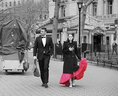 """And when you get the choice to sit it out or dance  I hope you dance"" - Lee Ann Womack (Lidiya Nela) Tags: blacktie pink dress urban city park manhattan newyork newyorkcity partialcolor selectivecolor street streetphotography candid people"