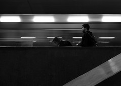 Track of Time (petertandlund) Tags: city longexposure urban blackandwhite bw man motion blur blancoynegro monochrome train subway sweden stockholm geometry streetphotography streetscene sthlm tcentralen slowshutterspeed norrmalm flickrfriday xe1 fujix