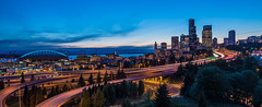 12th Street Panorama (NW Vagabond) Tags: seattle blue light skyline downtown jose wide trails hour rizal scurves 12streetbridge