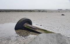WHEEL & AXLE on BEACH, BOULMER, NORTHUMBERLAND_DSC2453XR B P (Roger Perriss) Tags: sand rocks mud horizon northumberland pools boulmer