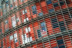 Detail at Torre Agbar (Dan Hogman) Tags: barcelona blackandwhite bw españa glass architecture facade spain catalonia gaudi catalunya torreagbar cataluña agbar curtainwall jeannouvel