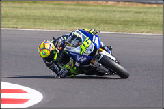 Valentino Rossi #46 with sparks from his elbow protector - Pity about the poor photo! (Smudge 9000) Tags: england bike unitedkingdom racing silverstone motorcycle motogp motorsport rossie 2013 aylesburyvaledistrict