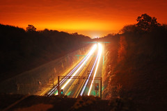"Train Race (Chris ""Donny"" Donohoe) Tags: uk england night northampton long exposure nocturnal railway trains"
