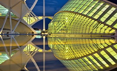 Docking in orbit (Nespyxel) Tags: blue valencia yellow architecture modern night reflections engagement spain nightshot perspective calatrava hook valenza riflessi orbit nocturne architettura spagna docking ciudaddelasartesylasciencias geometrie geometries propsettiva nespyxel stefanoscarselli