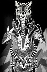 mural for super popular sanchez (ju.hu.) Tags: art girl wall buffalo mural wolf hare stuttgart dragons totem tentacle superpopularsanchez