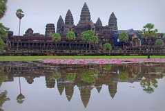 The logical shot: Angkor Wat from the water lily pond (armxesde) Tags: flowers trees lake reflection temple pond cambodia kambodscha waterlily pentax towers angkorwat angkor spiegelung k5 tempel mygearandme mygearandmepremium