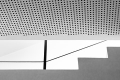 """""""Now they know how many holes it takes to fill the Albert Hall ... """" (Canadapt) Tags: abstract portugal lines museum stairs graphic angles holes ceiling railing canadapt figueirodovinhos"""