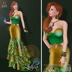 Zohra in Gold Green (http://www.purplemoonsl.com) Tags: fashion dress mesh formal sl secondlife gown pm gala vestido purplemoon