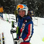 Austrian Viktoria Habersatter, winner of women's U16 super-G at 2014 Whistler Cup