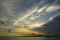 ooh... clouds... (Roger Foo) Tags: sunset sea sky clouds singapore cranes labradorpark nikond800e