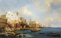 The Port Of Algiers, With The Jamaa Al-Jdid And Jemaa Kebir Mosques by Niel Simonsen (Danish) (Benbouzid) Tags: port painting denmark algeria danish mosquee ottoman algerie masjid mosques algiers niel danemark alger      jamaa simonsen  kbir danois regence     jdid