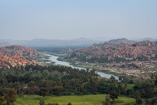 Hampi village seen from Anjaneya hills.