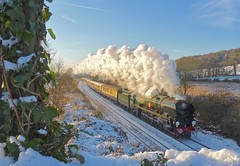 Winter Steam (Deepgreen2009) Tags: steam uksteam clanline bulleid pacific vsoe surrey hills snow winter heavy railway merchantnavy climbing exhaust gomshall