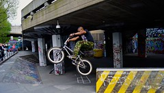 BMX South Bank (Sarah Marston) Tags: people man tree london sunglasses bike graffiti bmx sony may cctv shades southbank alpha tyre a65 2013 longlivesouthbankcom