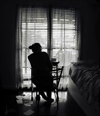 Writer's Block (azrael cosgrove) Tags: nerd window photography am books writers type curtains writer block simple emotive atmospheric azrael literacy cosgrove shutterbug97