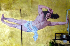 Breakdancing Jesus by Cosmo Sarson (Benn Gunn Baker) Tags: art by bristol religious gold graffiti break baker dancing jesus banksy diner croft canteen breakdancing stokes cosmo benn gunn sarson