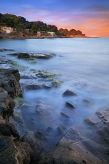 Sunset to Aiguebonne Beach #1, Le Dramont ( Var / France ) (Yannick Lefevre) Tags: longexposure sunset seascape france photoshop landscape nikon cotedazur raw nef tripod paca filter provence paysage plage dri var manfrotto hoya rockscape frenchriviera d300 ndfilter nd400 poselongue nd8 nikoncapturenx nikkor1224mmf4 52week ndx400 ledramont capturenx2 52week26 aiguebonne