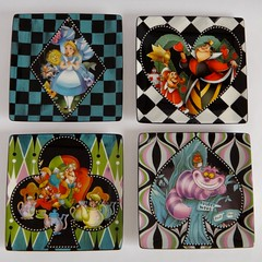 Alice in Wonderland Ceramic Dessert Plate Set - All Four Plates - Full Top View (drj1828) Tags: ceramic dessert disneyland plate aliceinwonderland disneyparks